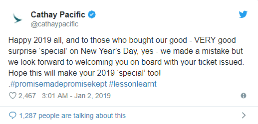 A tweet of Cathay Pacific honoring a business and first class error fare