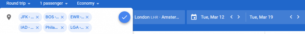 Example showing you can search six airports in Google Flights