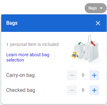 Shows the Google Flights bags feature to price out carry-on and checked bags