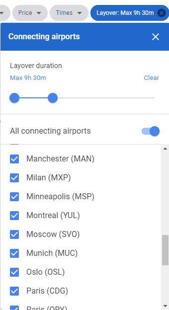 Example where you can use the google flight connecting airport and layover filter to exclude some airports.