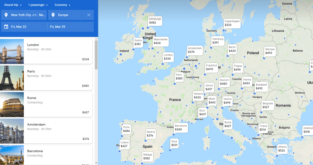 Google Flights Regions Flight Search Map