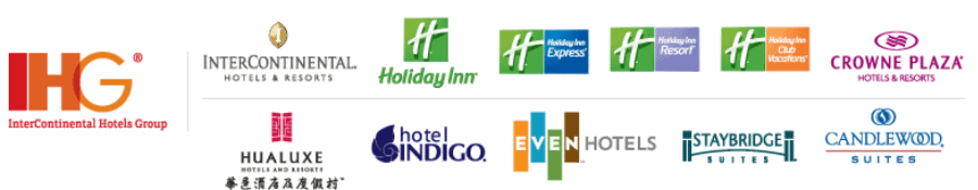 Logos of all the IHG brand hotels