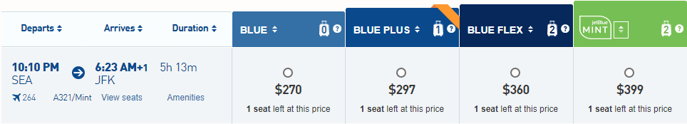 Prices of JetBlue Mint