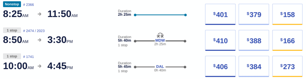 An example of how many points it takes to redeem Southwest Rapid Rewards points and miles for a flight.